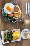 Savory Pancake With Salmon And Eggs + Poached Eggs With Hollandaise Sauce And Salmon