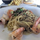 Prawn & Seaweed aglio olio - $25++