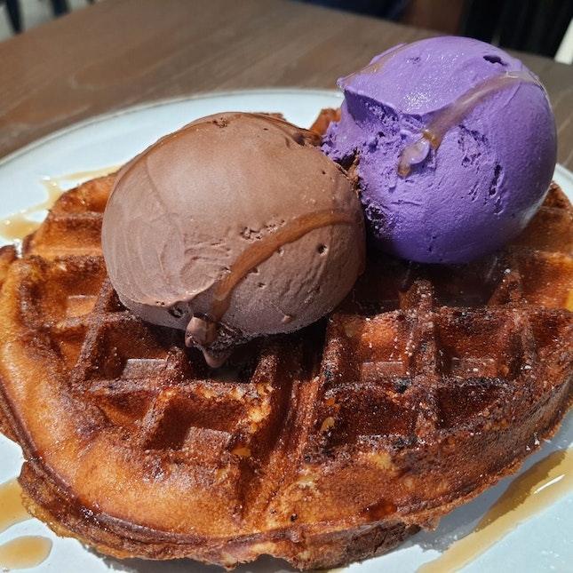 Waffle plus 2 scoops $16 / 4*