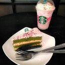 Madly in love with pink💗  What made the long overdue catchup awesome was the free upgrade on my Strawberry Honey Blossom Crème Frappe (launched today!!) and a slice of Green Tea Blossom cake on the house.