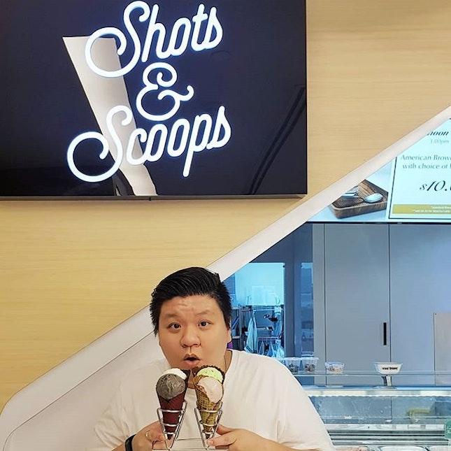 Shots & Scoops * Featuring: Stracciatella Lavender Ice Cream w/ Matcha Cone ~ $5.0 ~ Black Sesame Ice Cream w/ Red Velvet Cone ~ $5.0 ~ Freckled Mint Ice Cream w/ Chocolate Cone ~ $5.0 ~ Madly Macadamia Ice Cream w/ Black Charcoal Cone ~ $6.0 .