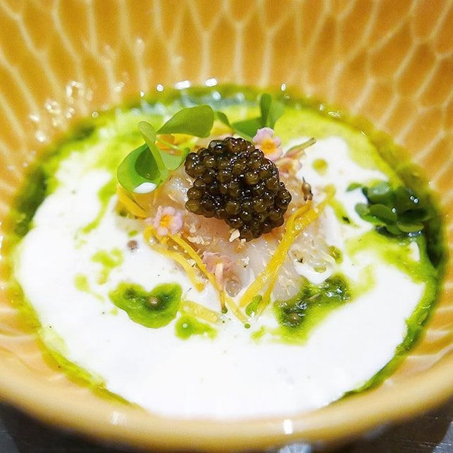 """Scallop & Coconut"" - Hokkaido Scallop Tartare, Toasted Coconut, Oscietra Caviar, Pressed Coconut Milk, Ponzu Sauce, Cilantro Oil."