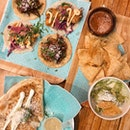 Tacos For One ($18), Chips, Guac and Salsa ($11), Quesadillas ($16)