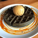 Charcoal Waffles with Ice Cream