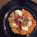 [Clarke Quay] Delicate yet rich and buttery black cod; with a sweet crab cioppino complementing the nutty, toasted flavour of the fregola ($38).