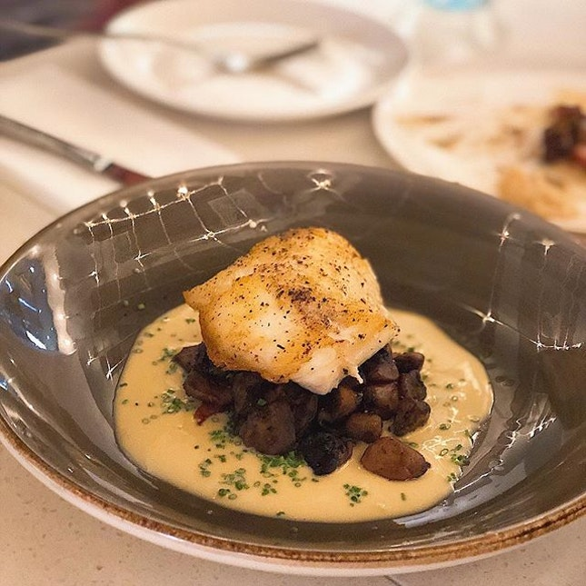 [Tanjong Pagar] The delicate, buttery flesh of the seared Chilean Sea Bass ($36) worked a treat with the earthy, salty flavours of the bacon and mushroom ragout.