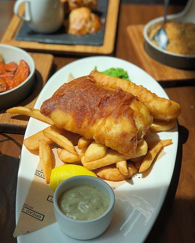 [MBS] Light, crispy batter on the Fish and Chips ($29), with flaky flesh, thick-cut chips and mushy peas.