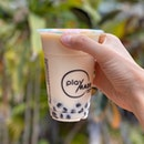 Taiwan Green Milk With Black Sesame Pearls ($4.40)