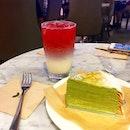 Hibiscus latte 🌺 with matcha crepe  cake #afternoontea #sgfoodpics #sgfood #sgcafe #sgfoodie #sgfoodpics #sgfoodporn #foodstagram #burpple #burpplesg
