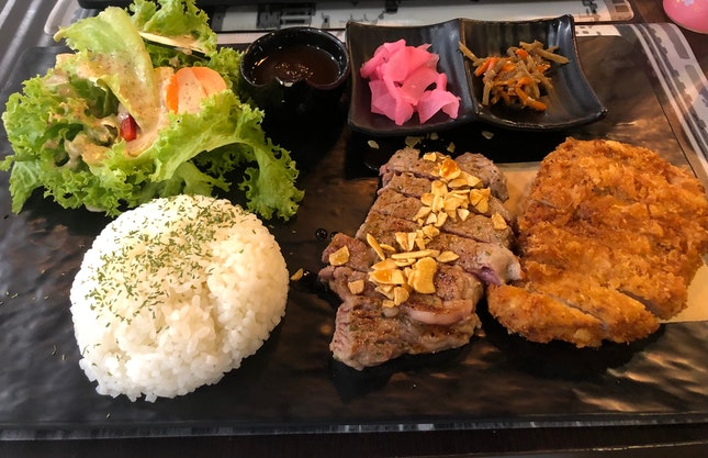 Grilled Steak And Pork Katsu