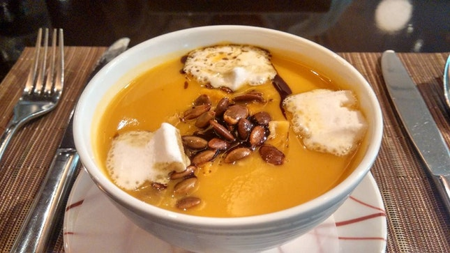 Roasted Butternut Squash Soup With Pumpkin Seeds & Cinnamon Marshmallows