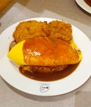Demiglace Sauce Omurice With Fried Pork Burgers
