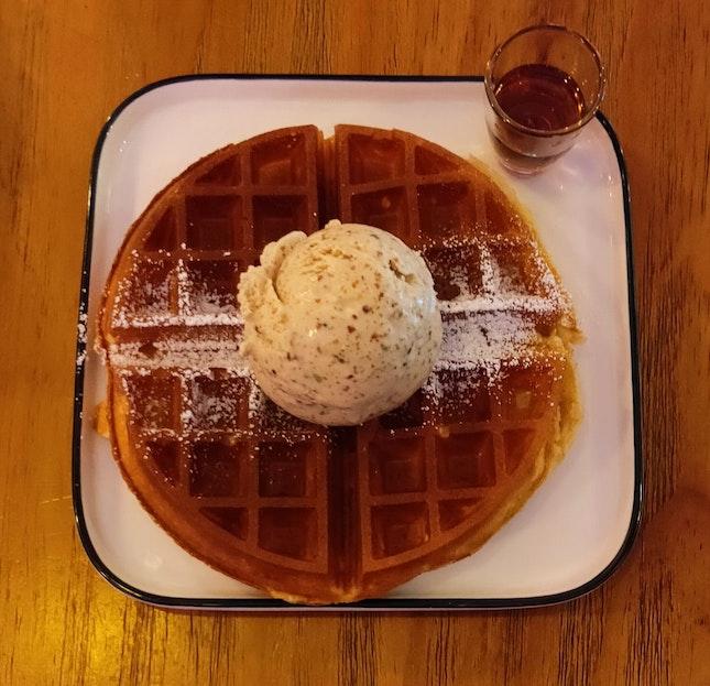 Waffle With Roasted Pistachio Ice Cream
