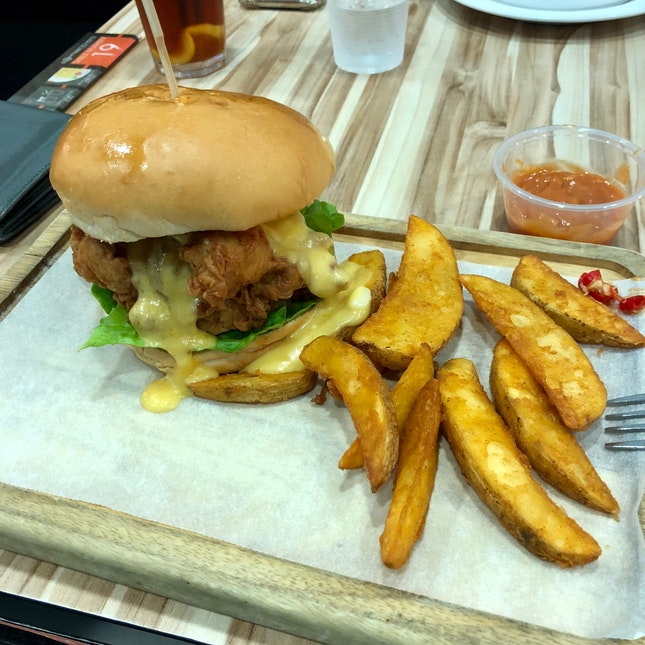 Salted Egg Chicken Burger (S$9.90)