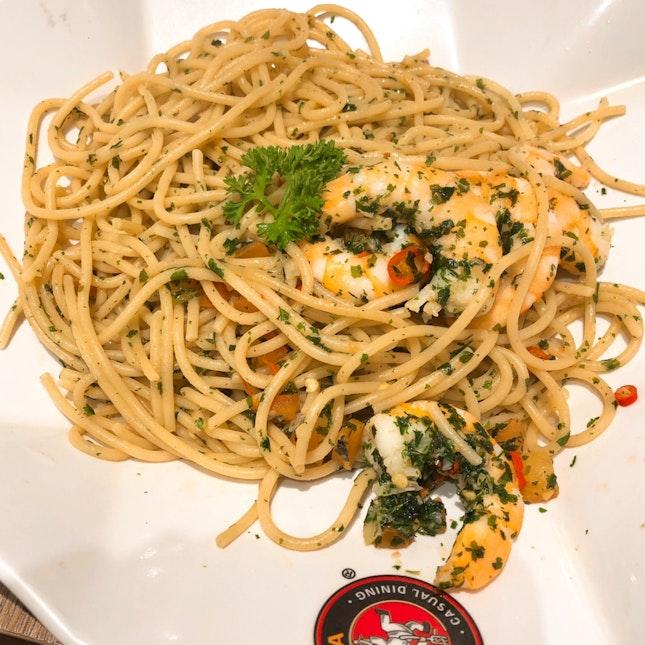 Prawn Aglio Olio Wholemeal Spaghetti