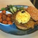 Honey Chicken with Scrambled Eggs and Sesame Bun