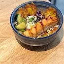 Soy glazed salmon with kimchi fried rice