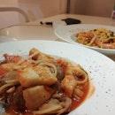 Salted Egg Prawn Pasta + Seafood Marinara