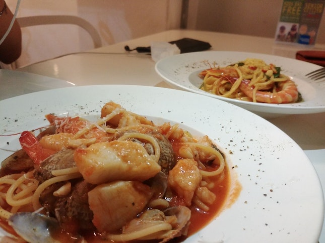 Salted Egg Prawn Pasta + Seafood Marinara