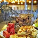 Lunch Chicken waffles from @yardbirdsingapore