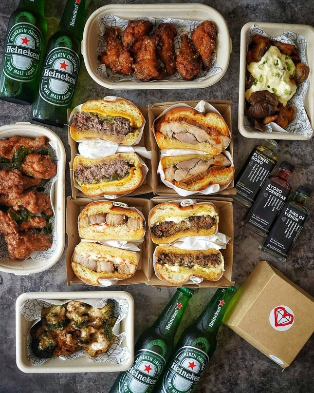 Gem Bar not only sell drinks, but they also sell food such as Burger, chicken wings and many more.