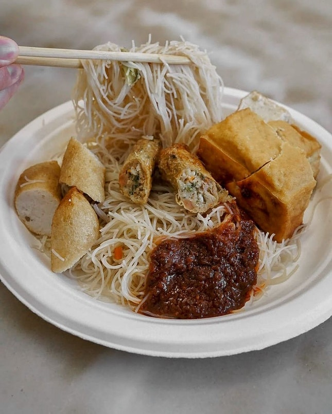 Manage to get this white bee hoon from YY Kafei Dian.