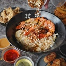 "Ebi Bar, modern Singaporean noodlebar ,located at B1 Cuppage Plaza, not only serves ""Chao Da"" (Charred) Ebi Noodles, but also serves ""Chao Da"" Ebi ""Pao Fan."