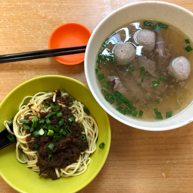 Beef Slice And Ball Dry Noodles