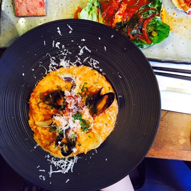 Kimchi Risotto With Mussels.