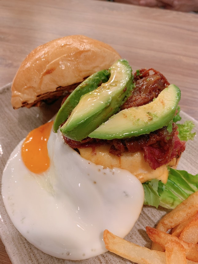 Wagyu, Bacon Cheese Burger & Fried Egg