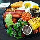 Botanist Breakfast ,toast grilled corn ,toast,pork sausages ,hash browns,avocado,baked beans,cherry tomatoes ,trio mushrooms,thick cut bacon ,choice of eggs (sunny side up ,poached,scrambled eggs) at only $23.