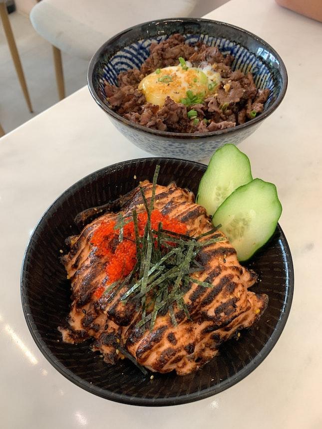 salmon mentaiko bowl [S; $17.90]
