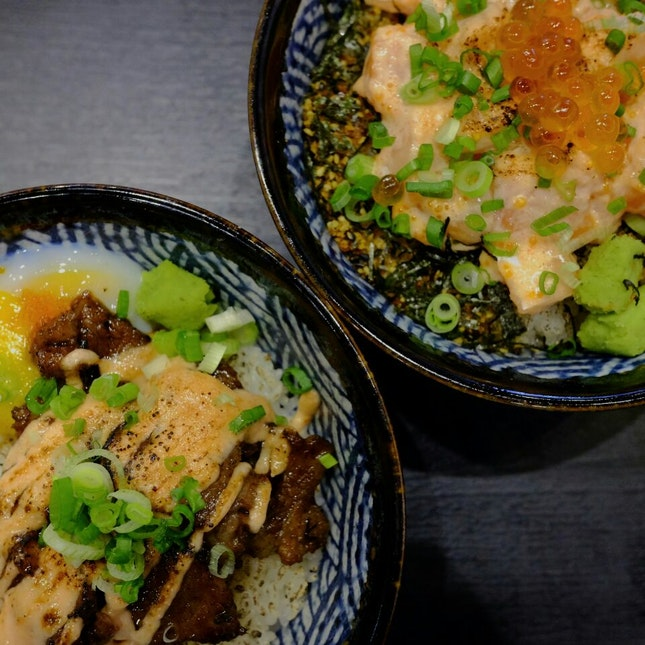 Salmon Belly Bowl with Mentaiko Mayo & Wagyu Beef Bowl with Mentaiko Mayo