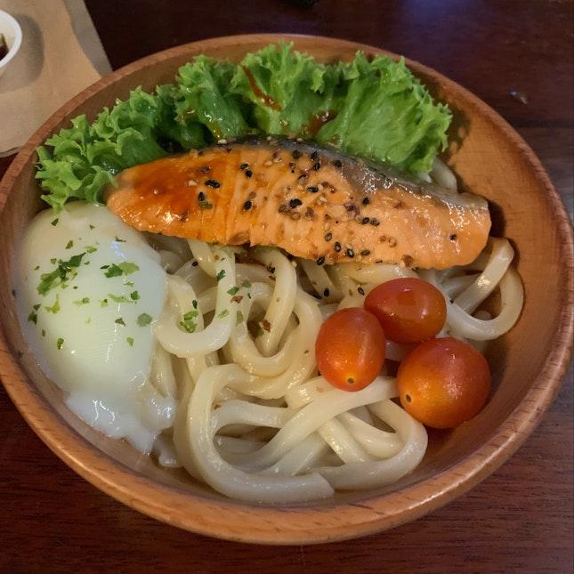 Yaki Salmon Udon + Onsen Egg
