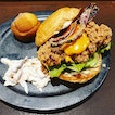 Southern Fried Chicken Burger ($20)😐 + Ginger Mi-Softly ($17) 🙁 + Pizza Fries 🙁 + Prawn Paste Chicken ($11)😐 + Choc Mousse Cake ($8) 😊 with games to play!