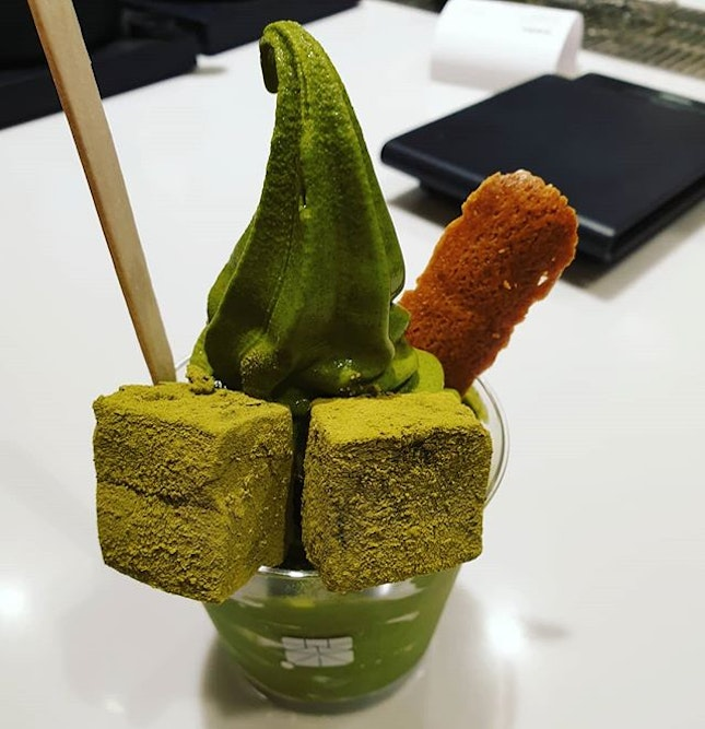 Uji Matcha Ice Cream with Genmaicha warabi mochi😊: The Genmaicha #warabimochi here is better than the one at 108 matcha saro.