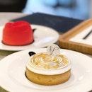Sudachi Tart // Sudachi curd, Jaconde sponge, torched meringue.