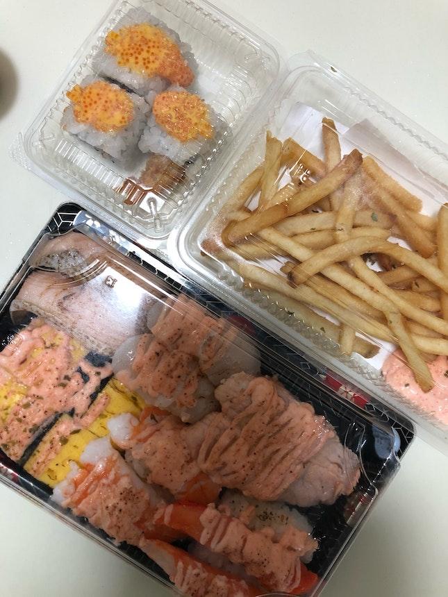 Sushi Platter $15.8, Mentaiko Fries $4.8 and Cheese Tobiko Shrimp Roll $4.5 (foodpanda)