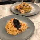Mentaiko Pasta $14.9, Seafood Aglio Olio $12.9
