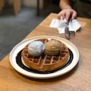 Waffle with blue milk and earl grey ice cream $6+$8