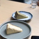 Burnt Cheesecake $8, Hojicha Burnt Cheesecake $8.5