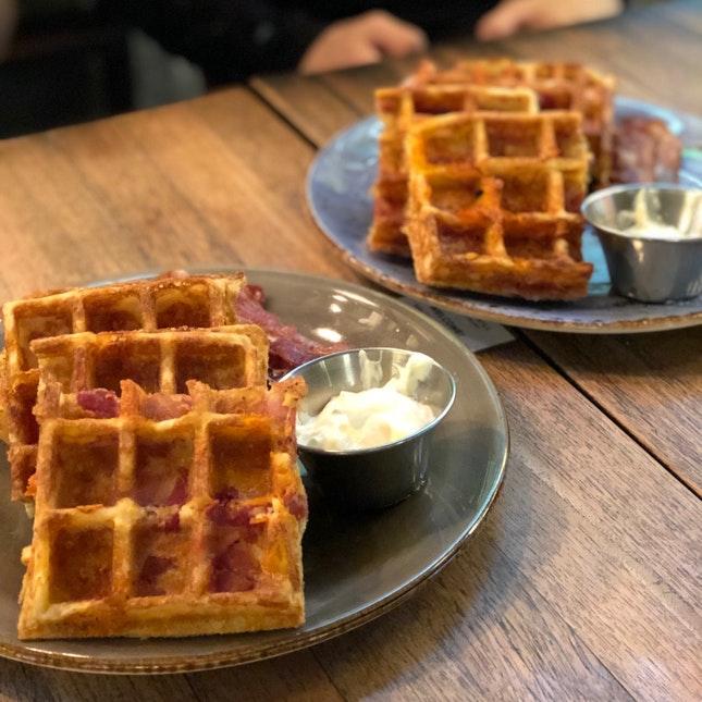 Cheddar Cheese Bacon Waffles $20++