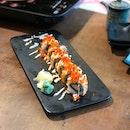 Deep fried salmon sushi $13.5++