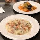 Creamy Prosciutto Risotto $25++, Triple Garlic Seafood Pasta $25++