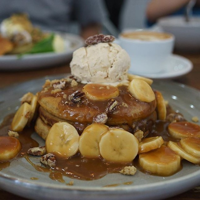 Sticky Date Pancake | served with fresh bananas, cookie dough, candied pecan nuts, salted caramel sauce with salted caramel ice cream