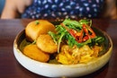 Chilli Scrambled Eggs with Fresh Crab | Chilli scrambled eggs, fresh crab, creamy corn potato cake, rocket, crispy mantou