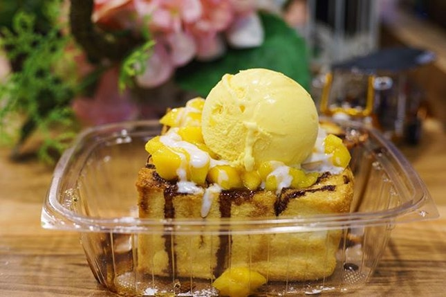 Mango Tango Shibuya Toast with ice cream, assorted toppings and drizzles
