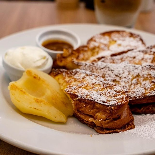 Almond French Toast with Sautéed Pear