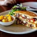 Jerk Chicken Sandwich | jerk spice rubbed chicken, avocado salsa criolla, swiss cheese, chipotle mayonnaise