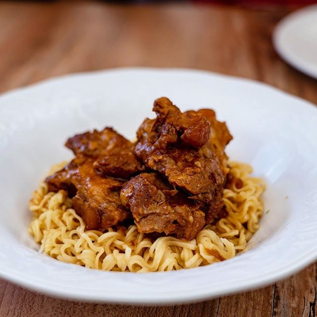Kagoshima-Style Braised Pork Cartilage with Tossed Instant Noodles